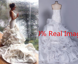Wholesale Custom Made Real Photos Mermaid Wedding Dresses With V Neck Full Lace Cascading Ruffles Summer Bridal Gowns For Church Wedding Party