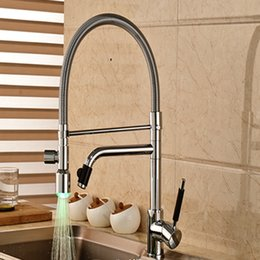 LED Chrome Brass Kitchen Faucet Vessel Sink Mixer Tap Double Sprayer Sink Mixer Tap Deck Mounted