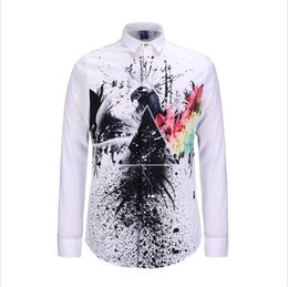 Wholesale-Hot New 3D Printed Men Gold Shirt printing Animal eagle Fashion  Long Sleeve Shirt Camisa Masculina Social Dress Shirts