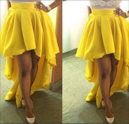 2015 Yellow High Low Party Skirts Corset Court Train Cheap Adult Women Skirts Fashion Daily Satin Skirts Custom Made One Layer