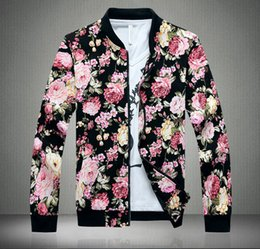 Fall-2015 NEW floral print British flag casual men jacket outwear jackets for men coat veste homme jackets and coats