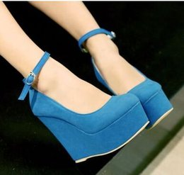 Wholesale New Arrival Fashion Princess Noble Super Stilettos Sweety Suede Casual Round Factory Direct Supply Ultra Wedge Shoes EU34