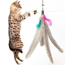 Wholesale Colorful Feather Design Tease Cat Stick Cat Catcher Teaser Toy Three short scaling Exerciser For Cat and Kitte