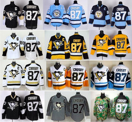Promotion série de hockey 2016 Nouveau, Pittsburgh Penguins Hockey Jerseys Ice 87 Sidney Crosby Jersey Stadium Série Hiver Classic Crosby Throwback Jersey Blue Bl