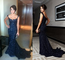 Kate Richie Navy Blue Sequin Evening Gowns Celebrity Dresses Mermaid Scoop Neckline Backless Sexy Women Dress Pageant Prom Gowns