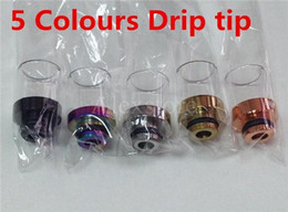 5 colors Pyrex Glass clear driptip stainless copper gold black rainbow rda drip tip 510 rba adapter ss Metal Mouthpiece for atomizer ecig