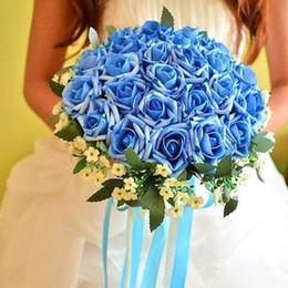 2016 красные синие цветы Vestidos Де Noiva +2016 Новый Красный Фиолетовый Голубой розы Свадебный букет Свадебный букет невесты Невеста Холдинг Романтический Роуз Buque доступный красные синие цветы