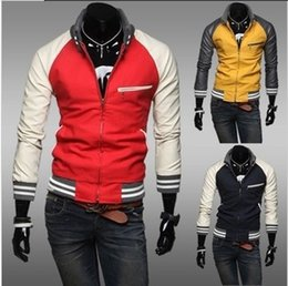 Foreign wholesale trade knit collar sportsman jacket sleeve stitching leather men's casual jackets raglan sleeve jacket Slim