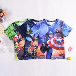 Wholesale 2015 New summer boys cartoon Captain America Ben short sleeve t shirt boys tee shirt top big children kids clothes