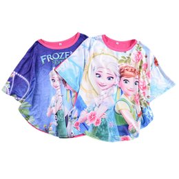 Wholesale PrettyBaby New girls frozen fever batwing sleeved blouse kids girl cartoon Elsa Anna printing Bat Wing shirt girls clothing