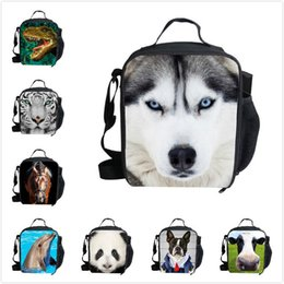 Wholesale New fashion cute husky zoo lunch bag for children cool personalized lunch box kids adult thermal bag lunchbag Lancheira food bag