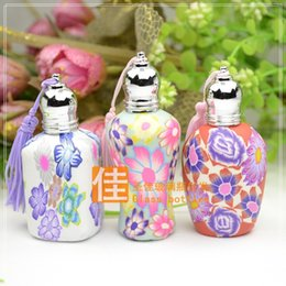 Wholesale Clay Perfume Bottles - Wholesale Fashion Polymer Clay Perfume Bottle Roll On Essential Oil FragranceTravel Empty Cosmetic Container Tassels Bottles