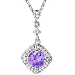 Free Shipping Luckyshine Valentine's Day gift 3piece lot 925 sterling silver fashion Dazzling Purple Cubic Zirconia Necklaces Pendant for