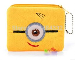 Wholesale-10pcs children's cartoon zipper purse yellow Minion coin purses Women's coin purses Women's wallet child's purse