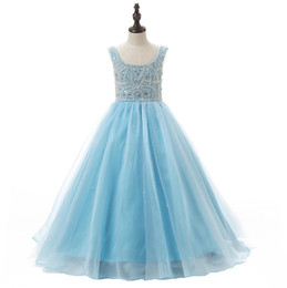 Lovely Baby Blue Flower Girls Dresses For Weddings With Scoop Neck Heavy Beaded Ruched Ball Gown Little Kids Pageant Party Dress