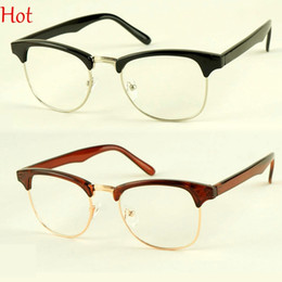 Wholesale 2015 Korean New Retro Casual Plain Glasses Clear Lens Nerd Half Frame Nerd Glasses Fashion Mens Womens Vintage Eyewear Black Leopard