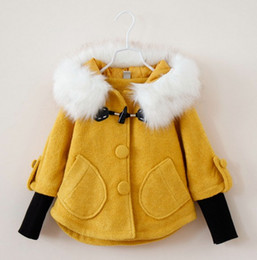 Wholesale 2014 Girls Winter Pageant Outcoat Outwear Kids Cloak With Faux Fur Hoods Children Colors Splicing Coat Poncho Kids Clothing Colors E1398