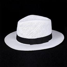 Wholesale-Unisex Fashion summer straw hat fedora beach sun hat solid white classic jazz panama hat straw hats For Women Men Free Shipping