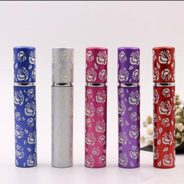 8ml Fillable Portable Mini Rose Flower Perfume Bottle Traveler Aluminum Spray Atomizer Empty Pots 5 Colors Available Free Shipping Wholesale
