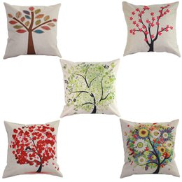 Wholesale 2015 New Retro Vintage Pillow Nature Tree Pillow Sham Case Covers Cotton Linen Homes Ikea Bed Room Seat Chair Cushion Pillowcase