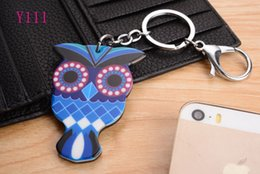 Hot 2016 Cute OWL head Silicon Key Caps Covers Keys Keychain Case Shell Novelty Item Key Accessories Car Keychain Ring