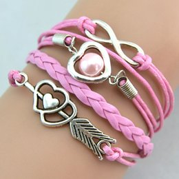 Wholesale Antique Charm Pearl Beads Stone mandrel Infinity Mix Colors Weave Leather Bracelets Fashion Wrist Band Bracelets Jewellery Drop Shipping