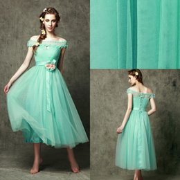 Wholesale Aqua Green Prom Dresses Bateau Applique Summer Charming Formal Dresses Off Shoulder Net Lace up Elegant New Design Evening Dresses DZ
