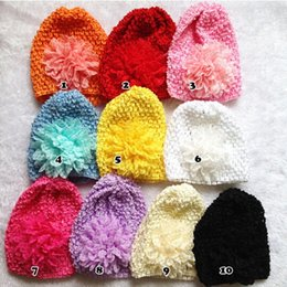 20pcs Mixed Color Chiffon Lace Flower Baby Kids Children crochet Knitted Caps Beanie Hat