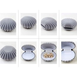 Wholesale-Jewelry Box Case Container Stand Gray Shell Conch Fit For Rings And Stud Earrings
