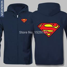 Wholesale Fashion Jacket Fleece Velvet Hoody Clark Kent Kal El Superman Frivolous Hoodies Sport Coat Men Winter Warm Style