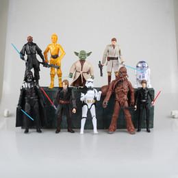 Promotion l'action de guerre Nouveaux 10pcs d'arrivée / set Star Wars Darth Maul Darth Vader Maître Yoda Doll Luke Skywalker Stormtrooper action figure Modèle Jouets