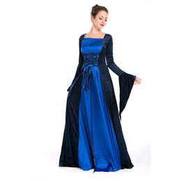 Women's Blue Velvet Renaissance Medieval Gothic Costume Long Dress Halloween Costumes Countesses Cosplay Dress Free Size Freeshipping