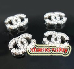 Wholesale 50PCS MM Slide Charms mm Full Clear Rhinestone Double Letters Fit for mm Wristband Belts rhinestone supplier