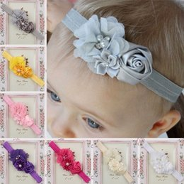 Wholesale Fashion Baby Hair Accessories Rose Flower headbands Pearl Rhinestone Combination Girls Hair Band Kids Headband Babies Toddler Head Band
