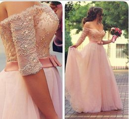 Middle East Arabic Long Evening Dresses Off The Shoulder Half Sleeves Lace Tulle Beads Pearls Ribbons Long Prom Dresses Pageant Gowns