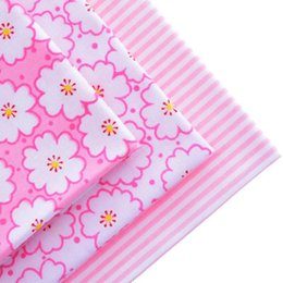 Wholesale Cotton Fabric Materials For Sewing Hometextile Scrapbooking Telas For Curtain Sheet Shirt Design Flower And Stripe Pink40x50cm