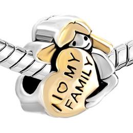 Heart shape charm I love My Family European Bead Charm Fit Pandora Chamilia Biagi Charm Bracelet