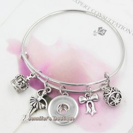 New Arrival Fashion DIY Interchangeable Jewelry Wire Bangles Bowknot Crown Ballet Ballerina Charms DIY Snap Bracelets For Women Jewelry