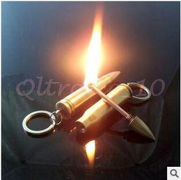 Wholesale 50pcs CCA2992 Bullet Keychain Lighter Waterproof Outdoor Safety Permanent Match Striker Lighter Metal Keychains Survival Match Key Rings