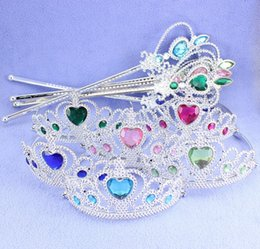 Wholesale Cartoon Princess Children Jewerly Set Kid Plastic Crown Magic Wand Accessories Girls Rhinestone Crown Childs Princess Sequined Crown M2995