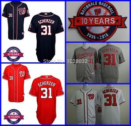 2017 gros national 2016 Nouveau 2015 NEW Washington Nationals Jersey # 31 Max Scherzer Maillots de Baseball Hommes Blanc / Gris / Rouge / Bleu Cool Base, Broderie, Vente en gros promotion gros national