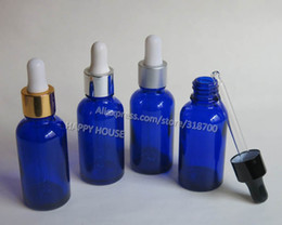 Wholesale E-Juice Bottles, 360pcs lot Blue Glass Essential Oil Bottle With Dropper, 1oz Empty Blue Glass Dropper Container