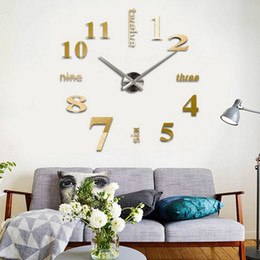 Wholesale DHL free shippng DIY Quartz clocks fashion watches d real big wall clock rushed mirror sticker diy living room decor D004