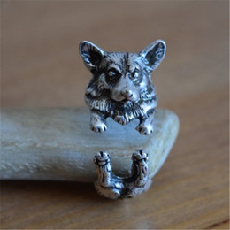 2015 Real Vintage Pembroke Welsh Corgi Ring Hippie Anillos Wrap Brass Knuckle English Dog Anel Feminino Rings For Fine Jewelry