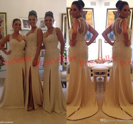 New Brazil Portugal USA Style Unique Sweet-heart 2 Straps Cover Sheer Back Slit Mermaid Chiffon Lace Beaded Long Bridesmaid Dresses 2015