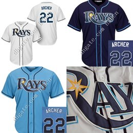 Wholesale Kids Tampa Bay Rays Jersey Chris Archer Jersey Youth Authentic Stitched Cool Base Baseball High Quality Jerseys size S XL