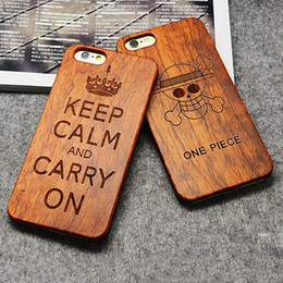 Wholesale For iPhone S Plus Wooden Bamboo Case Custom Design Wood Protective s Back Cover Samsung Galaxy S7 S6 Edge S5 DHL