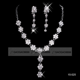 Wholesale 18K White gold plated metal necklace set in stock cheap wedding bridal jewelry set earring necklace