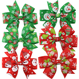 Wholesale Style Hair For Girl - 6 style Christmas barrettes hair accessories for girls Grosgrain ribbon bowknot hair clips accessories grosgrain with alligator clips