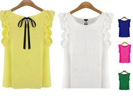 New Women's Blouse 2015 Summer Fashion Lotus Leaf O-Neck Casual Shirt Ladies Bow Chiffon Blouses Tops S-XL White Yellow Black